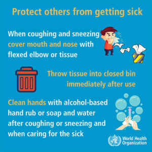 infographic from WHO advocating for safety measures when sick